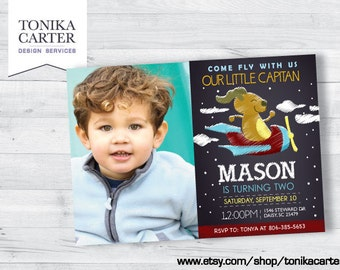 Airplane Birthday Invitation with picture (boy)