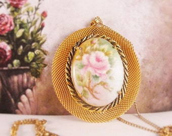 1970s AL. -  Hand Painted Porcelain Rose Cameo set in a Gold Mesh Pendent with Chain