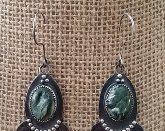 Sterling Silver, Seraphinite, Earrings, Patina oxidized.