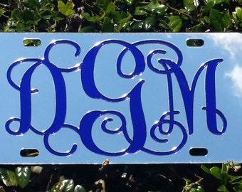 Monogram Mirror License Plate