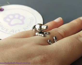 Greyhound ring. Silver. Resizable