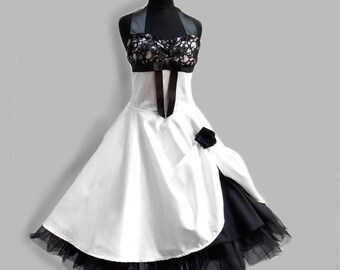 wedding dress, wedding gown, white, with black lace