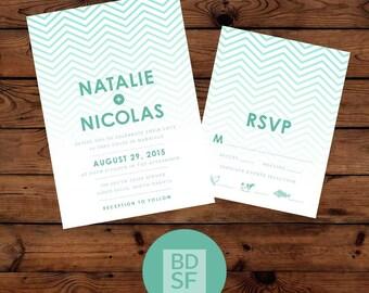 Printable Wedding Invitations // Zig Zag Modern Design // Chose Wording and Colors // DIY Printable Wedding Invites // Fully Customizable