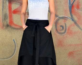 Linen Summer Low Drop Crotch Harem Loose Japan  Samurai Minimalist Skirt/ Pant  Culotte Capri  Carate Trousers