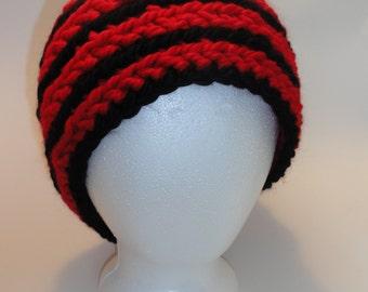 Handmade Red and Black Winter Beanie