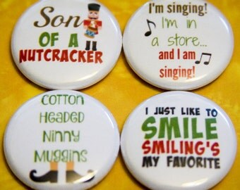 "Elf - Set of 4 - 1"" Pin Back or Magnet Back Buttons"