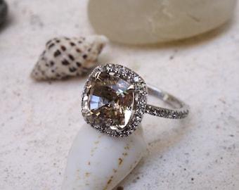 Art Nouveau Floral Tri Color Aquamarine Ring
