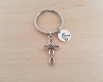 Cross Charm - Personalized Key chain - Initial Key Chain - Religious Gift - Key Chain - Gift - Custom KeyChain