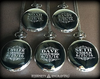 6 Groomsman gifts - Engraved pocket watches - 6 Silver personalized pocket watch in gift box - Custom engraved gift -Wedding gifts for him