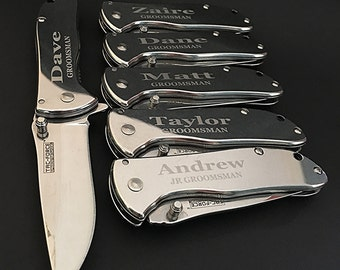 6 Groomsman gifts Personalized engraved knifes - 6 Custom engraved Best Man gift - Custom Engraved Pocket Knife -Personalized gift -Wedding