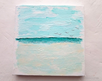 "Beach Painting Mini Canvas ""Flying in"" Original Artwork"
