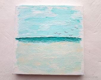 "Beach Painting Mini Canvas ""Flying in"" Original Artwork"