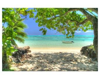 Moorea beach photo/ Tropical print / ocean canvas art / large beach photo / Hawaiian decor / beach photography / hawaii art/ palm tree photo