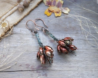 Flowers Earrings bouquet copper wire natural stone Wire Wrapped boho summer jewelry Dangle Earrings floral nature Bohemian hammered gift