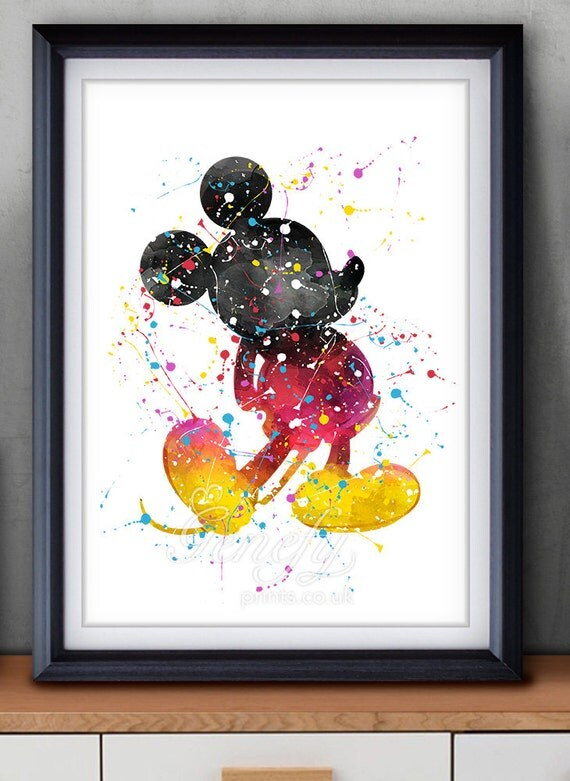 Disney mickey mouse watercolor art poster print wall decor - Porta poster plexiglass ...