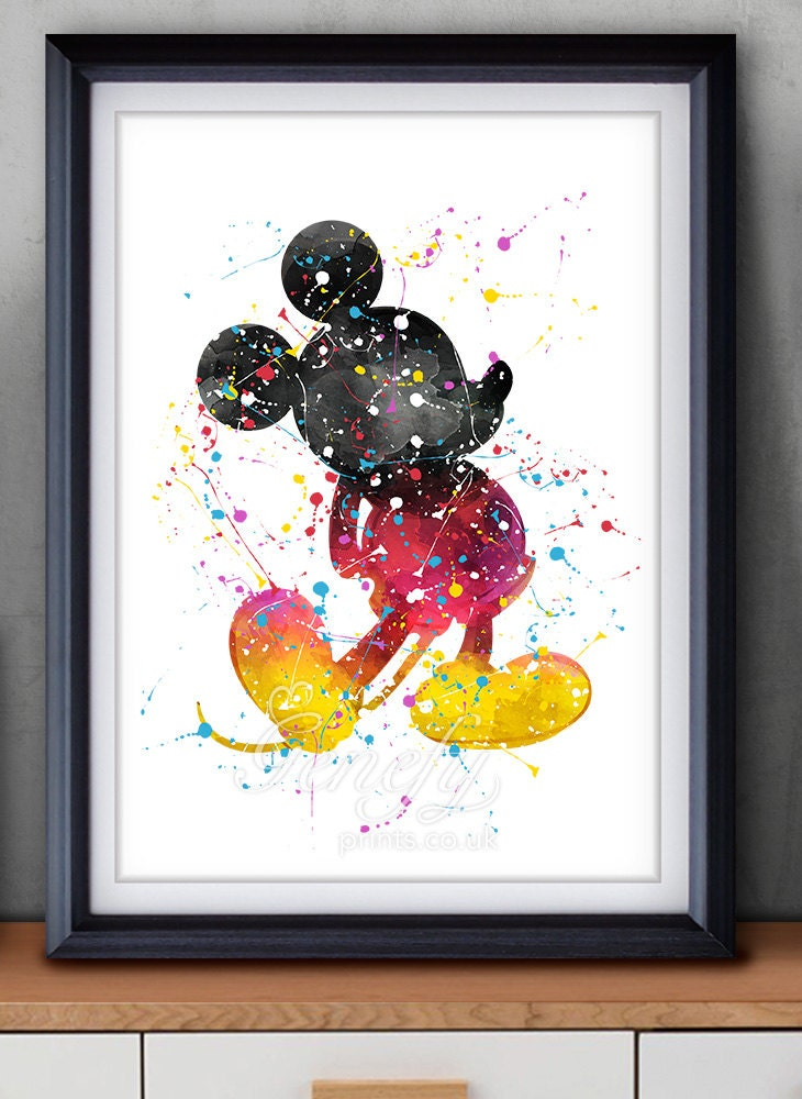 Disney mickey mouse watercolor art poster print wall decor for Wall art painting
