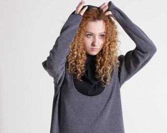 Sweater,Gray Sweater, Asymmetrical Sweater, Warm Sweater, Hood, Unusual, Unique, Cotton