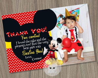 Mickey Mouse Thank You Card, Mickey Mouse Birthday, Mickey Mouse Party, Mickey Mouse, Thank You Card