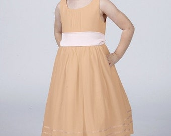 Rose Gold Flower Girl Dress with Complimentary Coloured Sash by Matchimony