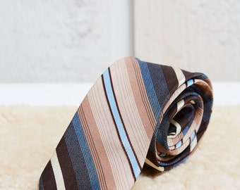 60s Pierre Cardin Brown and Blue Stripe Tie