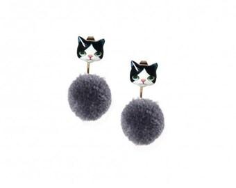 Black and White Tuxedo Cat Pom Pom Ear Jacket ER00633