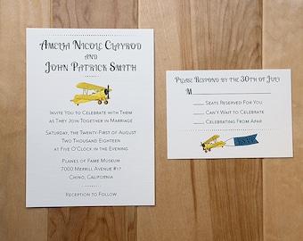 Airplane Styled Wedding Invitation, Travel Themed Invitation, Custom Colors, Response Card, Aviation Wedding Invite, Hangar Wedding, DEPOSIT