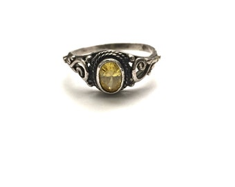 Vintage Yellow Stone Sterling Gem Ring Size 5.75
