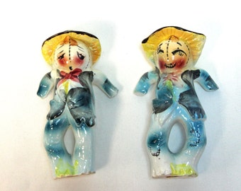Vintage Scarecrow Salt and Pepper Shakers - Hand painted Ceramic