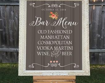 Printable Wedding Bar Sign, Custom Cocktail Brown Striped Sign Wedding Bar Menu
