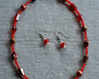 Red Necklace With Matching Earrings