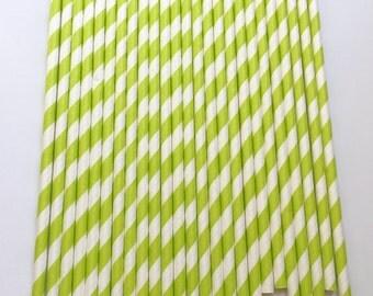 LIME GREEN & WHITE Stripe Paper Straws/Party Straws/Party Decor/Birthday Decor/Drinking Straws/Spiral Paper Straws
