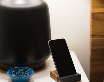 Black & Cherry Wood iPhone or Smart Phone Stand