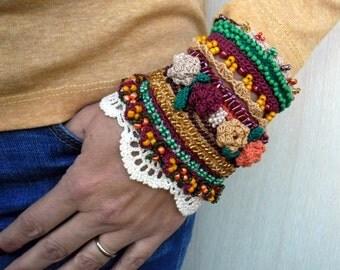 Crochet Bracelet Cuff, Beaded Bracelet Cuff, Crochet Jewelry, Freeform Crochet Cuff, Glass beads, Crocheted Roses, Crochet Lace