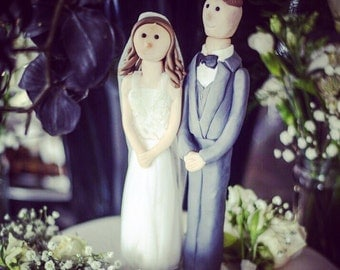 Wedding Cake Topper - Fimo bride and groom.