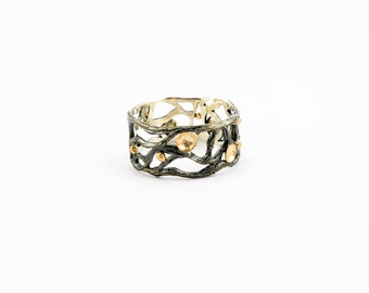 Ring sterling silver gold ring handmade ring