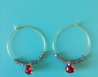 Hoop Ruby  Earrings