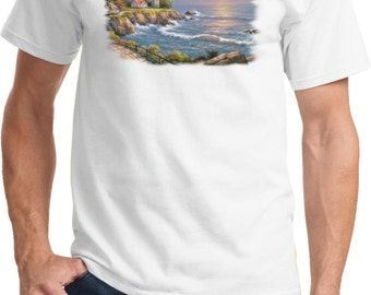 Men's Lighthouse Shirt Sunset At Lighthouse Point Tee T-Shirt 18095HL4-PC61