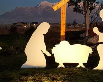 Medium Size Silhouette Nativity Set Outdoor with Baby Jesus in a manger, Mary, Joseph, one sheep.