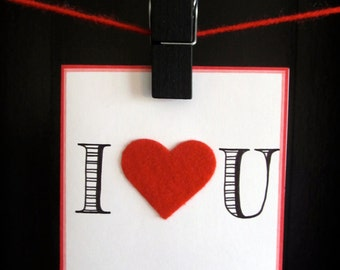 "Handmade & Hand Lettered ""I Heart U"" Red Greeting Card with Envelope"