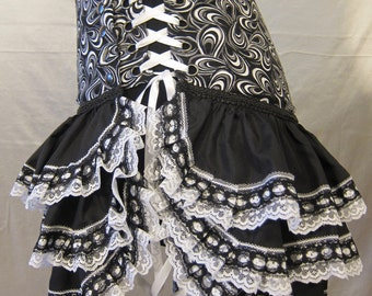 Custom Fit Tutu -- 'Smoking at the Cinema', Lace, Ruffle, Circus, Burlesque, Bellydance, Burning Man, Costume, Bustle, Steampunk