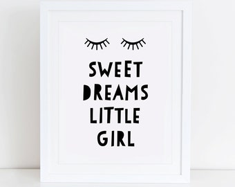 Sweet Dreams Little Girl Art Print, Sweet Dreams Art Print, Instant Download,  Printable Nursery,  Scandinavian Nursery, Scandinavian Decor