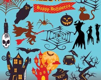 SALE! HALLOWEEN Digital Clipart Pumpkin Bat Spider Clip Art Scrapbooking Invitations Happy Halloween Printable Digital Graphics png 300 dpi