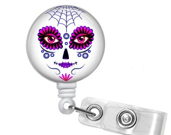 Female Day of the Dead, Sugar Skull, Retractable ID Badge Reel , Halloween, All Hallows Eve,