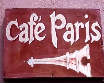 Color Photograph, Paris Cafe Sign, Paris, France