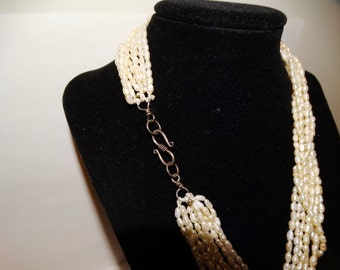 "Free Shipping Nine Strand Rice Pearl 18""Necklace."