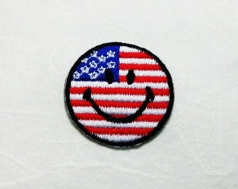 USA Smiley Face Iron on Patch - USA Flag Applique Embroidered Iron on Patch/USA Flag  Patch