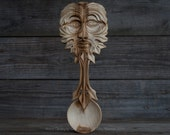 Hand Carved Elm Green Man Spoon / Hand Carved Spoon