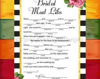 Bridal Shower Game, Bridal Mad Libs, Wedding Shower, Flowers, Shabby Chic, Black and White, Gold, Printable, Instant Download - BDS3