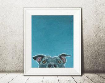 Pit Bull Print - Pit Bull Painting - Pit Bull Art - Pittie Print - Blue Pit Bull - Dog Print - Dog Painting - Dog Wall Art - Office Decor