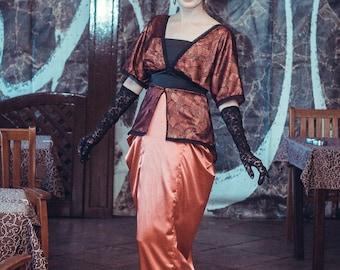 Edwardian Orange and Black Dress, Titanic Era Gown, Downtown Abbey 1910s Costume